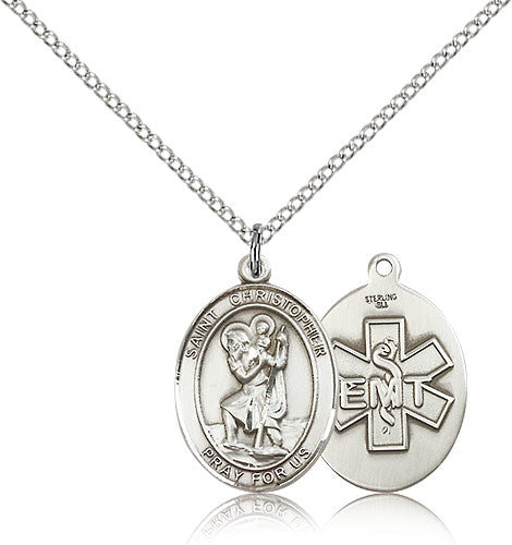 Sterling Silver St. Christopher EMT Medal with Chain Pendant
