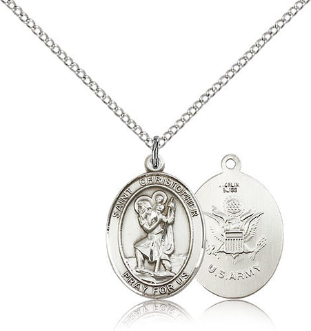 Sterling Silver St. Christopher Army Medal with Chain Pendant