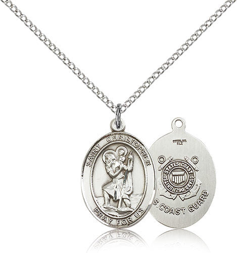Sterling Silver St. Christopher Coast Guard Medal with Chain Pendant