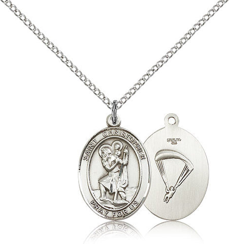 Sterling Silver St. Christopher Paratrooper Medal with Chain Pendant