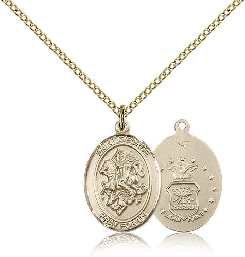 Gold Filled St. George - Air Force Medal with Chain Pendant