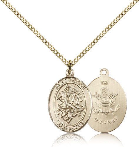 Gold Filled St. George - Army Medal with Chain Pendant