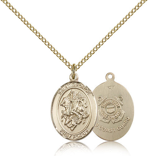 Gold Filled St. George - Coast Guard Medal with Chain Pendant