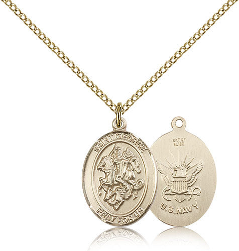 Gold Filled St. Goeroge - Navy Medal with Chain Pendant