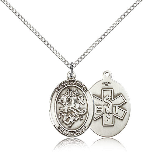 Sterling Silver St. George EMT Medal with Chain Pendant