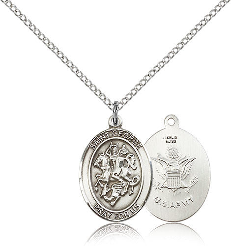 Sterling Silver St. George Army Medal with Chain Pendant