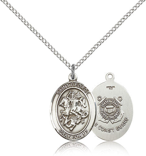 Sterling Silver St. George Coast Guard Medal with Chain Pendant