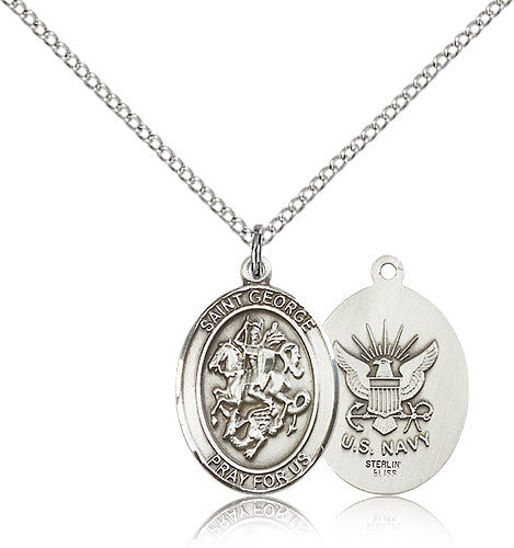 Sterling Silver St. George Navy Medal with Chain Pendant