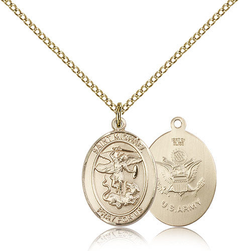 Gold Filled St. Michael - Army Medal with Chain Pendant