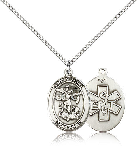 Sterling Silver St. Michael the Archangel EMT Medal with Chain Pendant