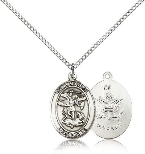 Sterling Silver St. Michael the Archangel Army Medal with Chain Pendant