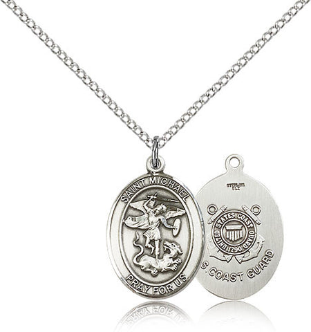 Sterling Silver St. Michael the Archangel CoaSt. Guard Medal with Chain Pendant