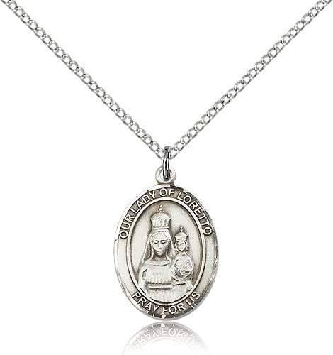 Sterling Silver Our Lady of Loretto Medal with Chain Pendant Medium