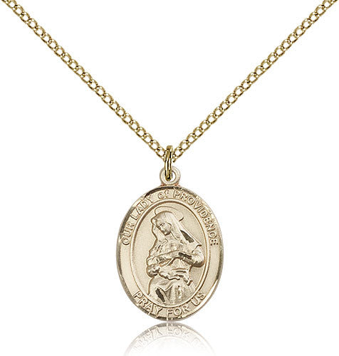 Gold Filled Our Lady of Providence Medal with Chain Pendant