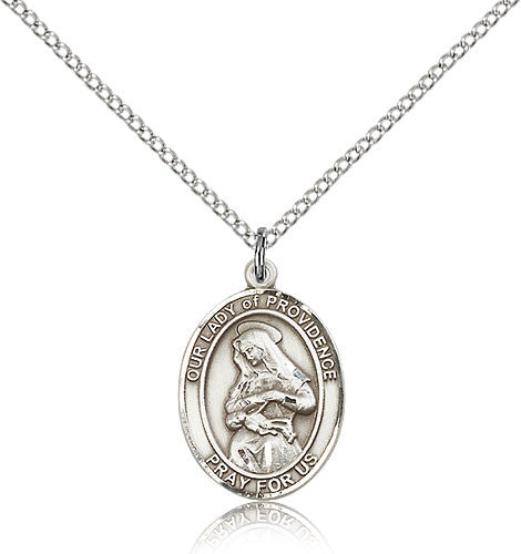 Sterling Silver Our Lady of Providence Medal with Chain Pendant Medium