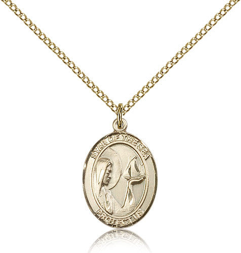 Gold Filled Our Lady Star of the Sea Medal with Chain Pendant