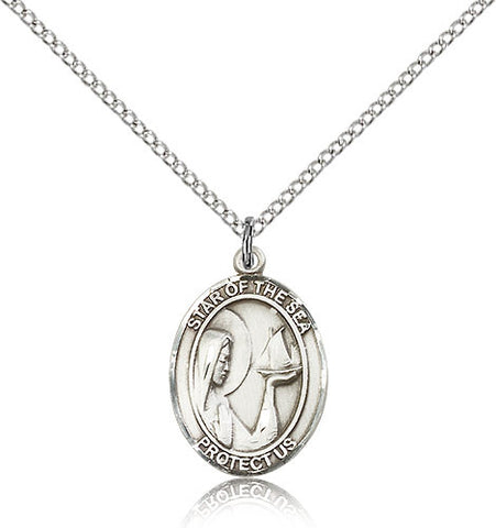 Sterling Silver Our Lady Star of the Sea Medal with Chain Pendant Medium
