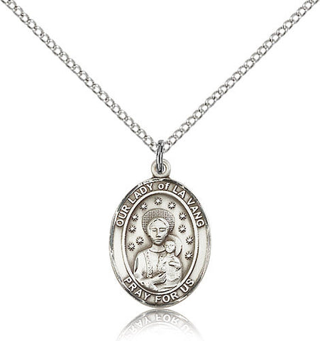 Sterling Silver Our Lady of La Vang Medal with Chain Pendant Medium