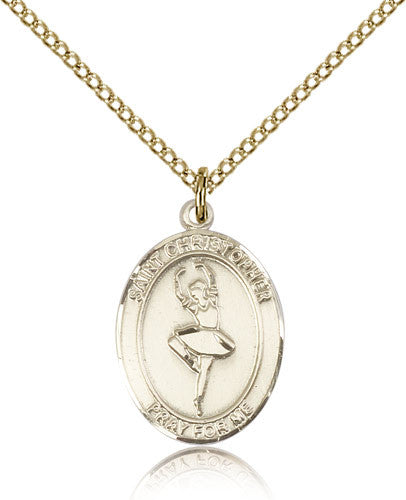 Gold Filled St. Christopher - Dance Medal with Chain Pendant