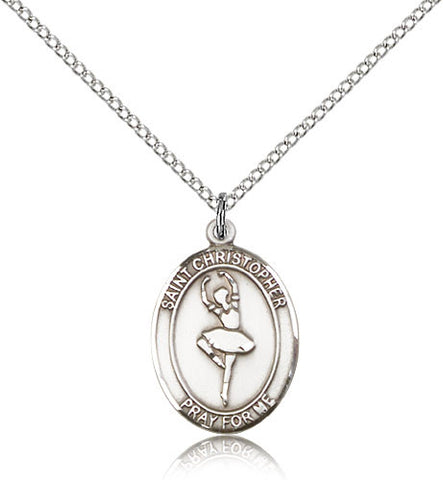 Sterling Silver St. Christopher Dance Medal with Chain Pendant