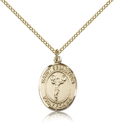 Gold Filled St. Sebastian - Cheerleading Medal with Chain Pendant