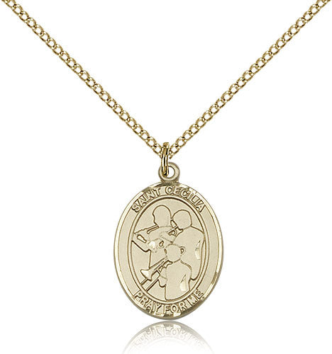Gold Filled St. Cecilia - Marching Band Medal with Chain Pendant