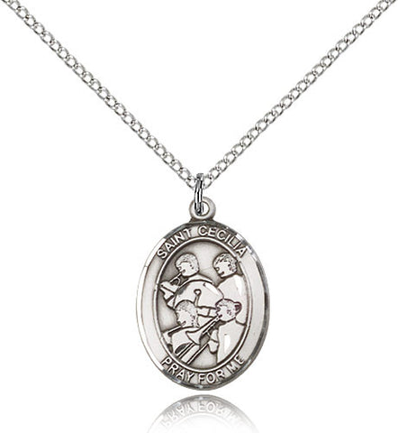 Sterling Silver St. Cecilia Marching Band Medal with Chain Pendant