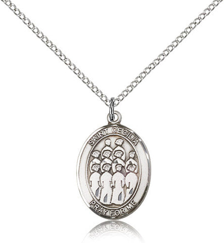 Sterling Silver St. Cecilia Choir Medal with Chain Pendant
