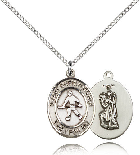Sterling Silver St. Christopher Field Hockey Medal with Chain Pendant