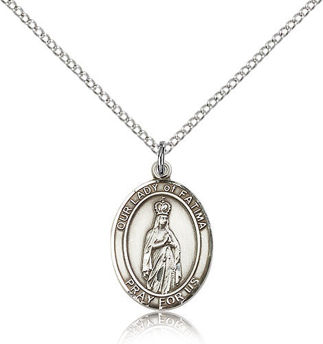 Sterling Silver Our Lady of Fatima Medal with Chain Pendant Medium