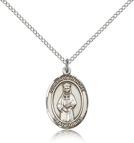 Sterling Silver Our Lady of Hope Medal with Chain Pendant Medium