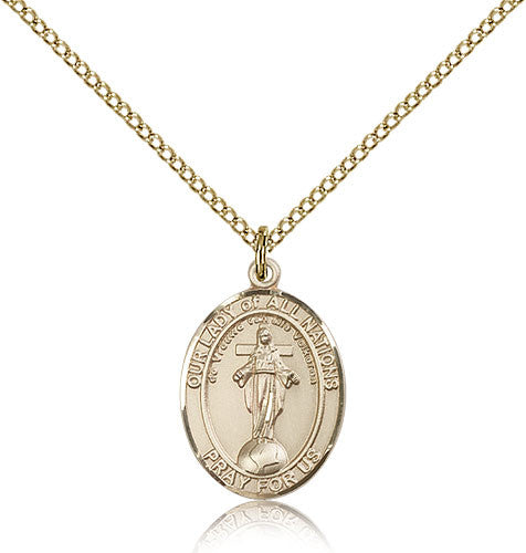 Gold Filled Our Lady of All Nations Medal with Chain Pendant