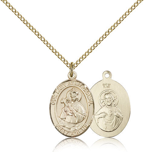 Gold Filled Our Lady of Mount Carmel Medal with Chain Pendant