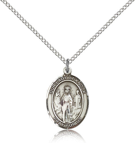 Sterling Silver Our Lady of Knock Medal with Chain Pendant Medium
