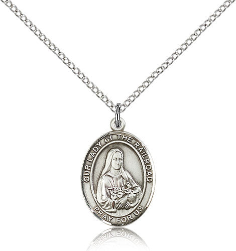 Sterling Silver Our Lady of the Railroad Medal with Chain Pendant Medium
