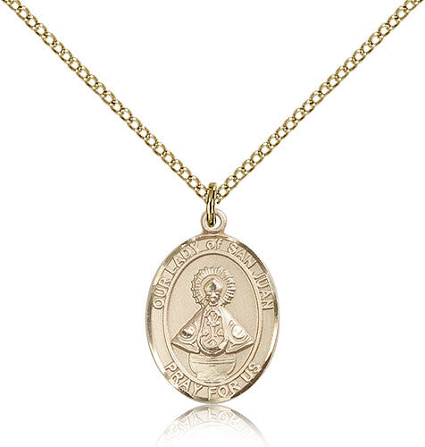 Gold Filled Our Lady of San Juan Medal with Chain Pendant