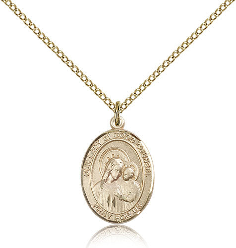 Gold Filled Our Lady of Good Counsel Medal with Chain Pendant