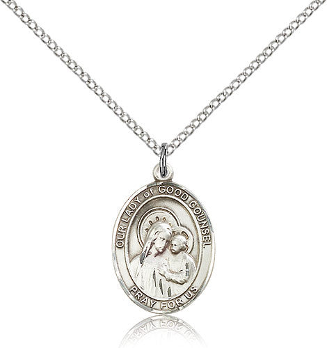 Sterling Silver Our Lady of Good Counsel Medal with Chain Pendant Medium