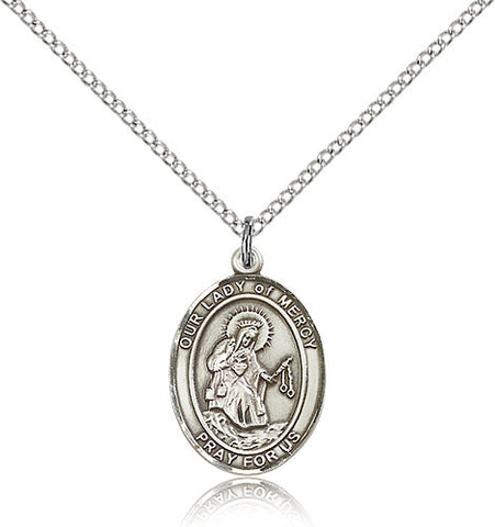 Sterling Silver Our Lady of Mercy Medal with Chain Pendant Medium