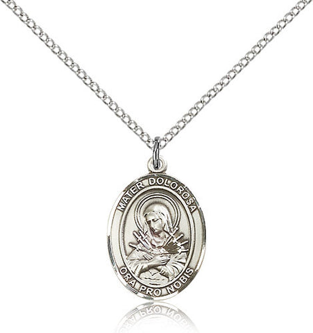 Sterling Silver Mater Dolorosa Medal with Chain Pendant Medium