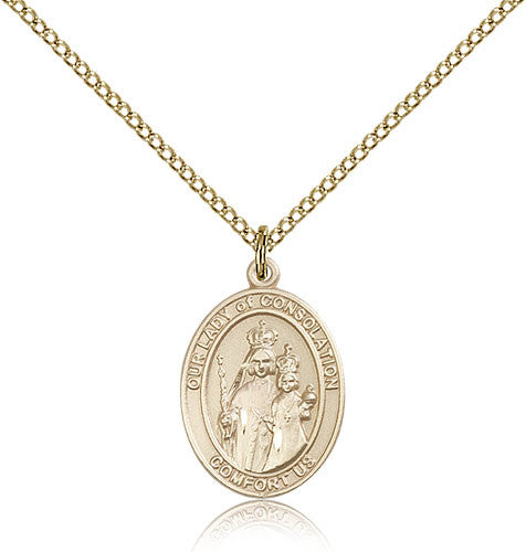 Gold Filled Our Lady of Consolation Medal with Chain Pendant