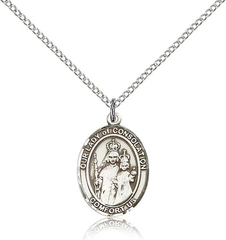 Sterling Silver Our Lady of Consolation Medal with Chain Pendant Medium