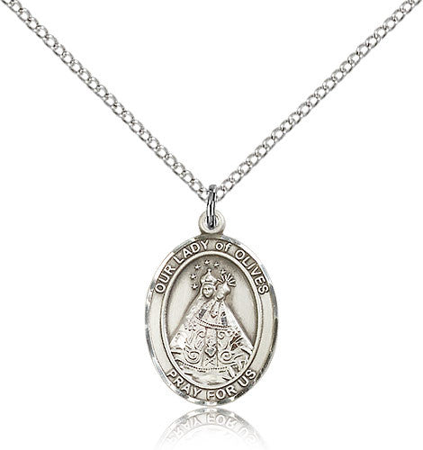 Sterling Silver Our Lady of Olives Medal with Chain Pendant Medium