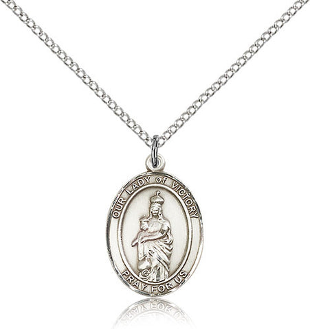 Sterling Silver Our Lady of Victory Medal with Chain Pendant Medium