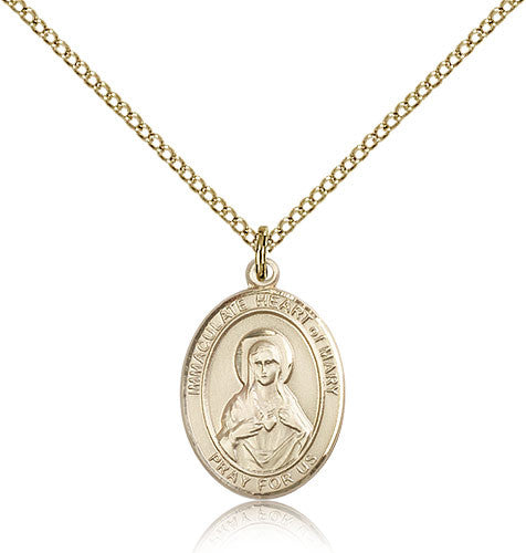 Gold Filled Immaculate Heart of Mary Medal with Chain Pendant