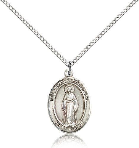 Sterling Silver Virgin of the Globe Medal with Chain Pendant Medium