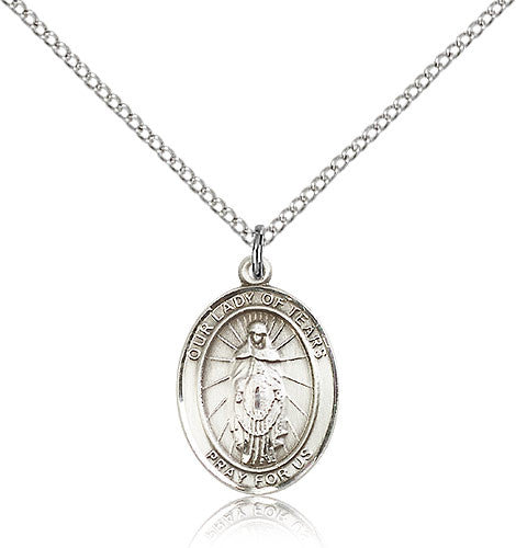 Sterling Silver Our Lady of Tears Medal with Chain Pendant Medium