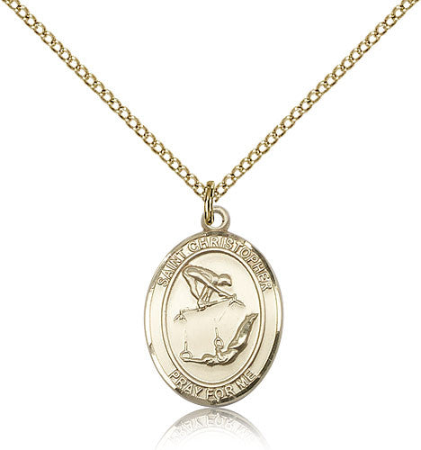 Gold Filled St. Christopher - Gymnastics Medal with Chain Pendant