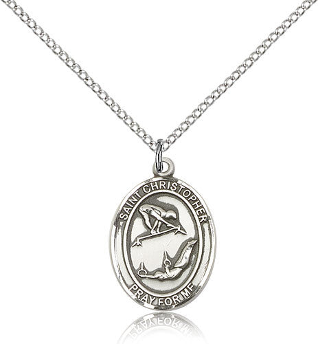 Sterling Silver St. Christopher Gymnastics Medal with Chain Pendant