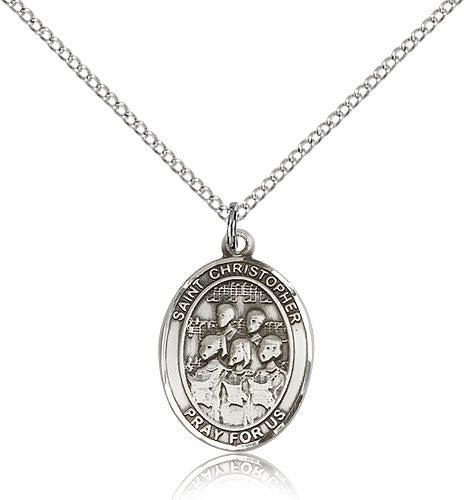 Sterling Silver St. Christopher Choir Medal with Chain Pendant